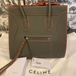 NWT Auth Celine Phantom Green Stone w/ Orange Trim